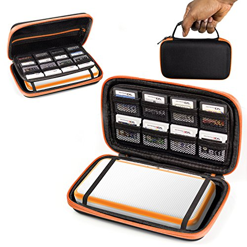 2DS XL Case, Orzly Carry Case for New Nintendo 2DS XL - Protective Hard Shell Portable Travel Case Pouch for New 2DS XL Console with Slots for Games & Zip Pocket - Orange on Black