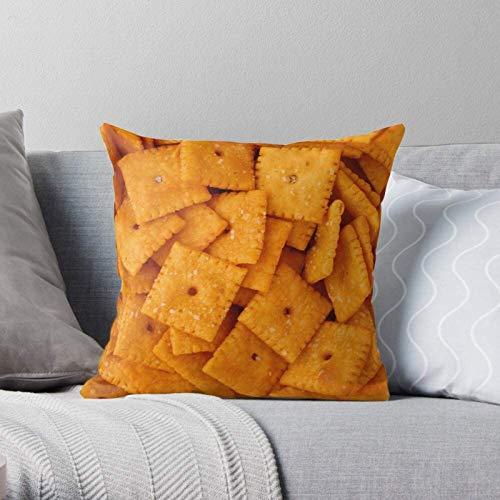 BONRI Camp Cheese Cheez Cracker Chez It Its Cracker Moderne dekorative und leichte weiche Polyester-Kissenbezüge für Schlafzimmer/Wohnzimmer/Sofastuhl und Auto,18''×18''