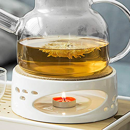 Stövchen Teekanne Porzellan Heizung Keramik Weiß Teewärmer, Kaffeekocher Stövchen Basis Mit Korkmatte, Tee Herd Tee-Set Zubehör, stövchen für teekanne