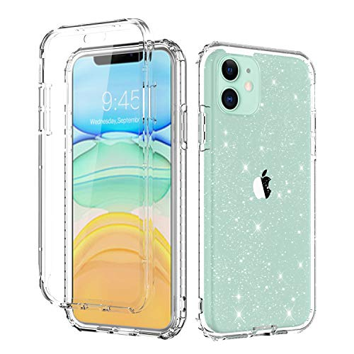Casetego Compatible iPhone 11 Case,360 Full Body Dual Layer Slim Crystal Transparent Case with Built-in Screen Protector for Apple iPhone 11 6.1 inch,Glitter Crystal
