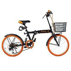 LUCK store 折りたたみ自転車 折り畳み自転車 20インチ シマノ6段変速 カゴ・リアサスペンション付き ワイヤ錠・LEDライトのプレゼント付き 前後泥除け装備 ハンドルの高さ調節できる 19BKOR
