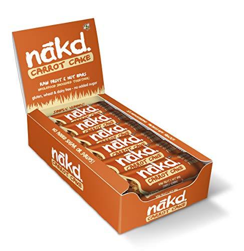 Nakd Raw Fruit and Nut Gluten Free Bars 30 - 35g(Pack of 18) (Carrot Cake)