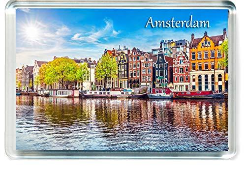 J002 Amsterdam Jumbo Imán para Nevera Netherlands Travel Fridge Magnet