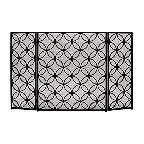 Purchase 3-Panel 46×30in Wrought Iron Fireplace Screen, Safety Indoor Outdoor Metal Decor Mesh, Fre...