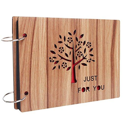 Álbum de fotos DIY con cubierta de madera, Scrapbook con páginas en negro, para aniversario, de Sicai