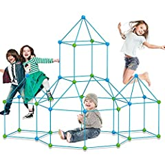 FLEXIBLE STEM FUN FOR BOYS & GIRLS: The kid's ultimate forts builder kits is designed for child aged 5 and up, they can build a cave, play tent, rocket, house, igloo, princess castle, tunnel, just add a bed sheet to create a hideaway.Let your childre...