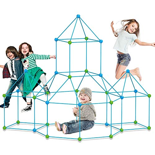 Fort Building kit for Kids 120 Pieces Air Forts Builder Gift Kid Construction Toys for Boys and Girls Ages 3-5-7 DIY Fun Fort Building Castles Tunnels Play Tent Tower Indoor Outdoor