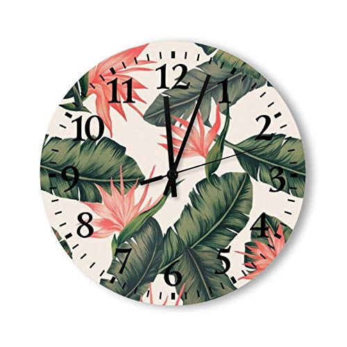 Round Wood Wall Clock Home Decor,Bridesmaid Dress Color Swatches Pattern, Battery Operated, no Ticking Sound, for Home, The Kitchen, Living Room, Bedroom, Restaurant or Office, Made in US