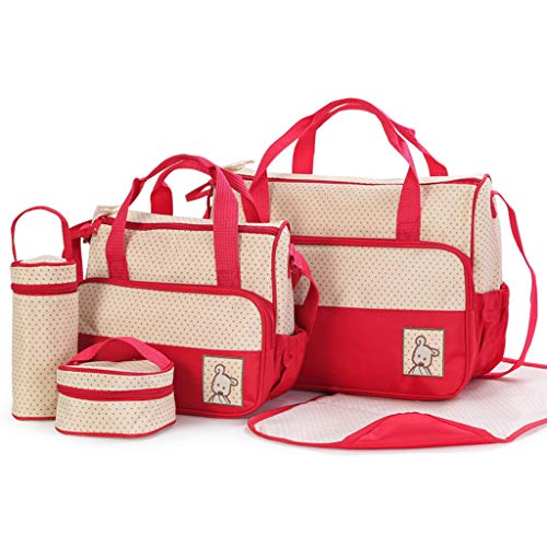 SUSHUN 5 Stück Multifunktionales Set Baby Wickeln Windel Wickeltasche Mutterschaft Mama Handtasche Rot #wie das Bild zeigt