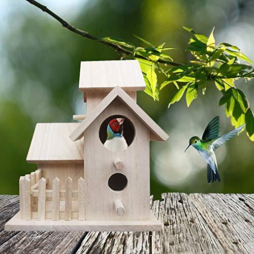 Funihut Houten vogelhuisje, om op te hangen, nestkastje voor het knutselen in de open lucht, decoratie binnen en buiten, 3 huizen + omheining (20,5 15,5 15,5 15,5 cm)