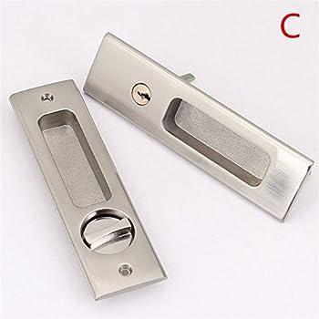 homdsim baño cerraduras llave cerraduras de mango de palanca de puerta corredera pegadas conjuntos repuesto para puerta negro: Amazon.es: Hogar