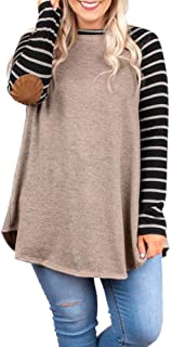 Womens Plus Size Raglan Striped Shirts Elbow Patch Long Sleeve Casual Tunic Tops