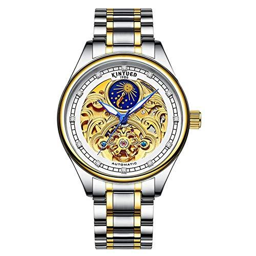 QZPM KINYUED Herren Uhren,Automatikuhr Mechanische Skelett Glasboden Diamant Zifferblatt Wasserdicht Schwarz Männer Armbanduhr Mit Edelstahl Armband,J0331