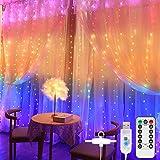 SUNNEST LED Lichterketten, Lichtervorhang 300 LEDs USB Vorhanglichter String Light mit Fernbedienung Timer für Deko Innenbeleuchtung vier Farben