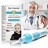Ear Wax Removal, EarWax Vacuum remover, Electric Ear Cleaner Tools Smart Automatic Ear Removal Kit Adjustable Ear Wax Pick with Led Light Soft Silicone Easy Comfortable Cleaning
