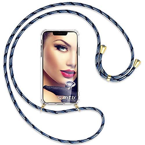 mtb more energy Collar Smartphone para Motorola One Fusion Plus, One Fusion+ (6.5'') - Azul Rayado/Oro - Funda Protectora ponible - Carcasa Anti Shock con Correa para Hombro