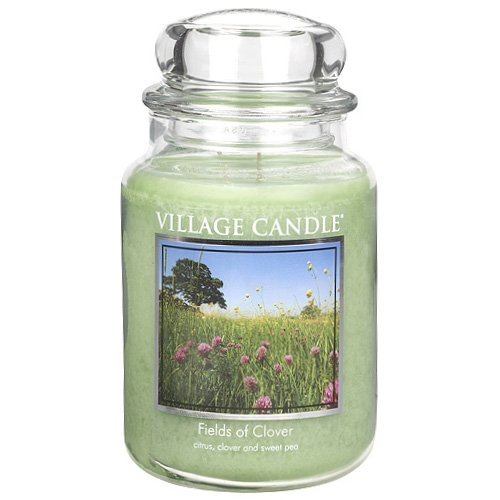 Village Candle 106326193 Fields Of Clover Grande Vaso, Vetro, Verde, 10.4 X 10.3 X 17.7 Cm