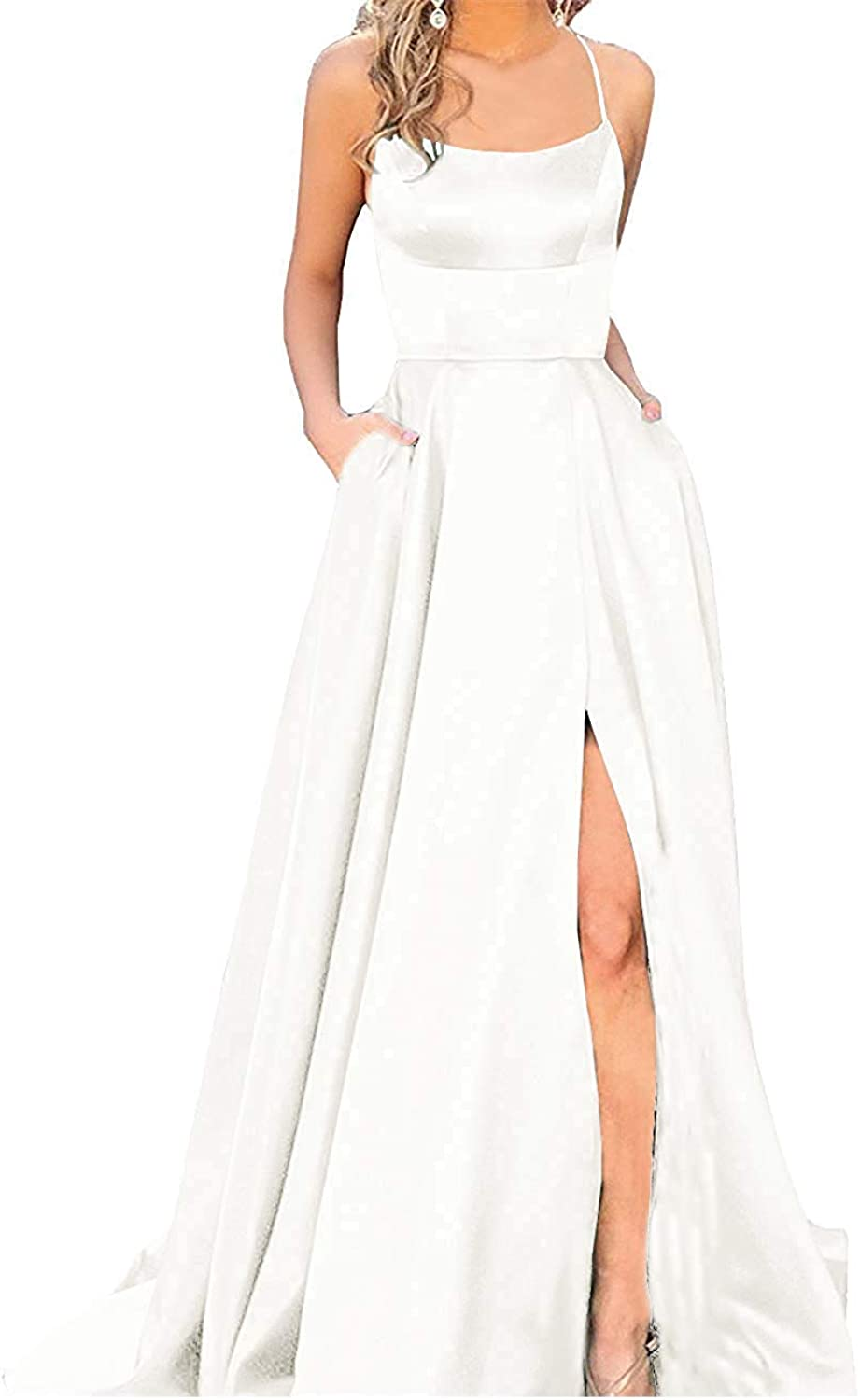 Tutu.vivi Women's 2019 Spaghetti Straps Satin Long Eveing Party Gowns Prom Dresses with Pockets