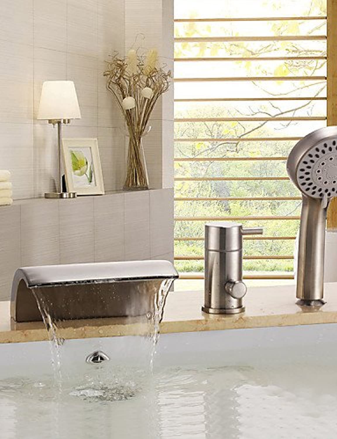 - Contemporary Nickel Brushed Three Holes Single Handle Waterfall Bathtub Faucet with Hand Shower
