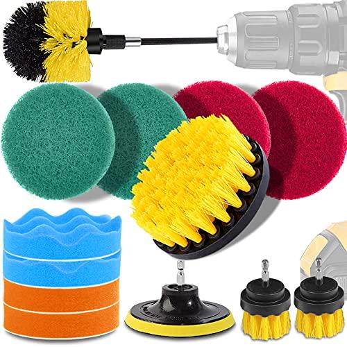 電動掃除用ブラシ ドリルブラシ 15点 掃除用ブラシセット GOH DODD 洗車用ブラシ 回転ブラシ 延長ロッド付き トイレ、お風呂、浴槽、浴室、キッチン、床、タイル、カーペット、車、タイヤなどに