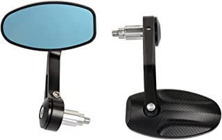 مرايا الرؤية الخلفية للدراجة النارية ، مرآة جانبية لمرآة بار نهاية الطريق ، ثلاثية 675 1050 بونفيل T100 T120 バイク (色 : ブラック)