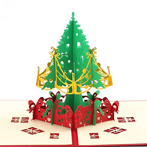 Karte Weihnachtsbaum,3D Weihnachtskarte für Frauen und Männer, Geschenkkarte mit Tannenbaum zu Weihnachten, Grußkarte zur Weihnachtszeit inkl. Umschlag (Weihnachtsbaum)