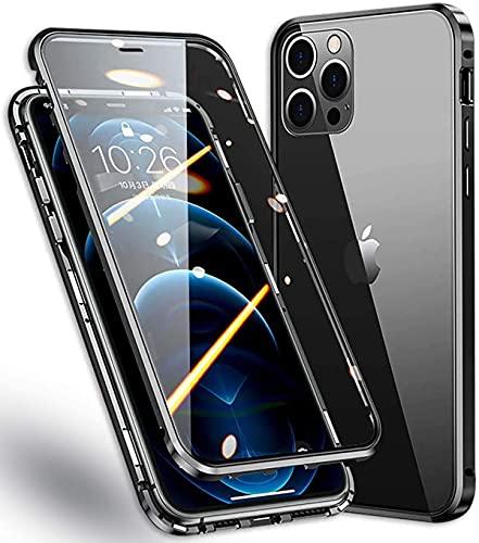 Cover per iPhone 12 PRO Max (6.7') 5G Adsorbimento Magnetico Paraurti in Metallo con 360 Gradi Protezione Antiurto Case Doppi Lati Trasparente Vetro Temperato Flip Custodia per,Nero