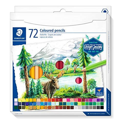Staedtler 146 C72 - Matite colorate classiche esagonali, mina morbida, colori altamente pigmentati), astuccio in cartone con 72 matite in colori vivaci
