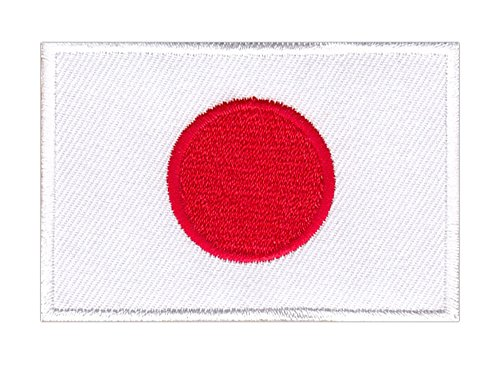 Patch Japan Flagge Sonne Aufnäher Bügelbild ca. 4,7 x 7,2 cm