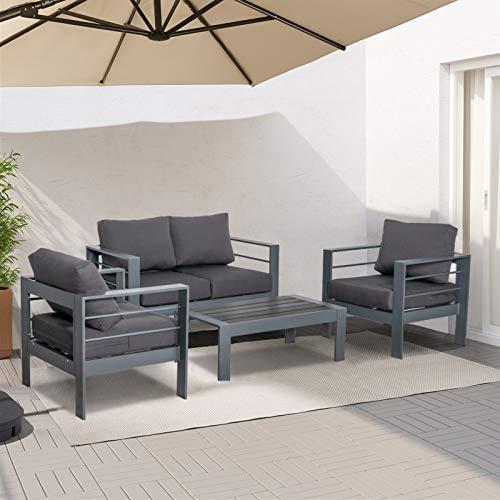 ORISTUS 4-PCS Outdoor Patio Furniture Set Interior Anti-Rust Aluminum loveseat Sofa Armchair Coffee Table,Couch with Cushion,Easy Clean Durable(Dark Gray)