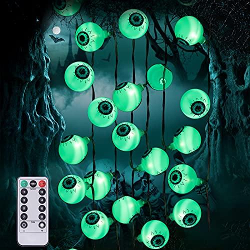 Halloween Grüne Augapfel-Lichterkette mit Fernbedienung, 30 LEDs Batteriebetrieben Wasserdicht Augapfel-Lichter mit 8 Beleuchtungsmodi für Halloween Party Indoor Outdoor Garten Yard Dekorationen