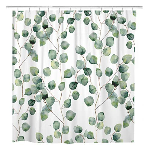 ArtSocket Shower Curtain Watercolor Green Floral Eucalyptus Round Leaves Pattern Branches Home Bathroom Decor Polyester Fabric Waterproof 60 x 72 Inches Set with Hooks