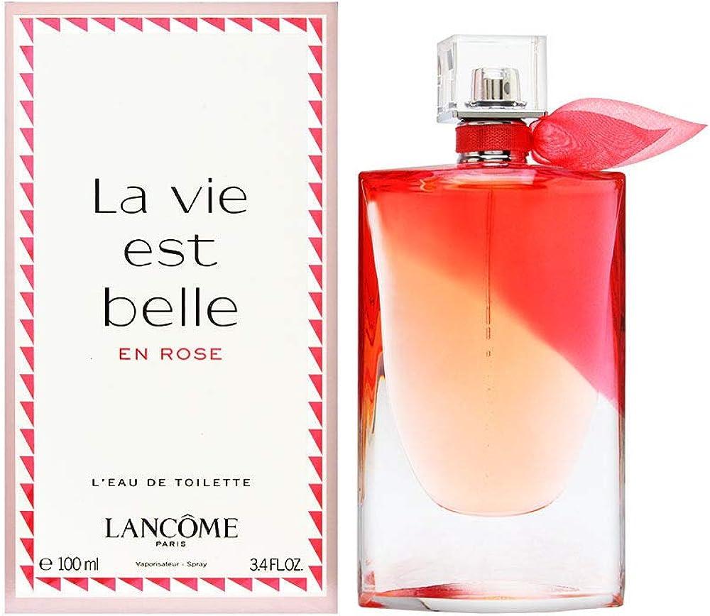 Lancôme la vie est belle en rose, eau de toilette,profumo per donna, 100 ml 3614272520875