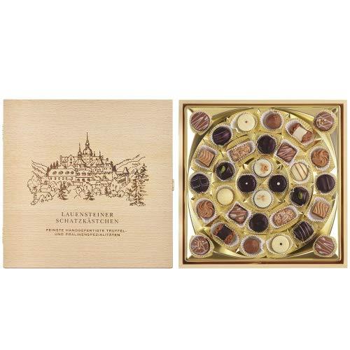 Lauensteiner Schatzkästchen - 400g feinste Pralinen in 21 Sorten, mit/ohne Alkohol. Edles Geschenk in Holzbox zum Muttertag oder Vatertag!