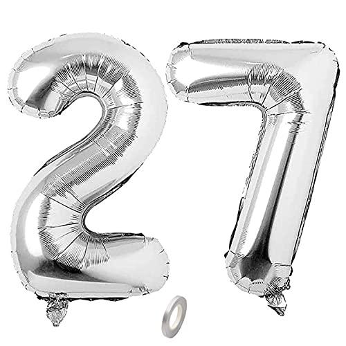 Jrzyhi Globos con números para 27 cumpleaños, plateados, con número 27, número 27, helio, número grande XXL, número 27, globos gigantes para cumpleaños, bodas o fiestas, decoración de 32 pulgadas