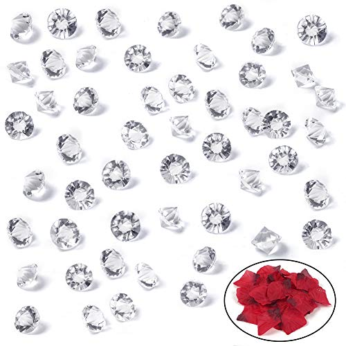 HansGo Clear Glass Diamonds, 500PCS Crystal Gems Pirate Treasure 10mm Fake Diamond Wedding Favor Table Centerpiece Decorations