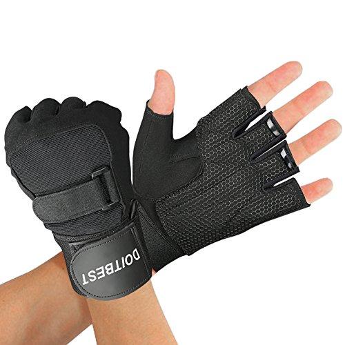 CCLIFE Trainingshandschuhe Damen Herren mit Handgelenkschutz Fitnesshandschuhe Sporthandschuhe, Größe:L