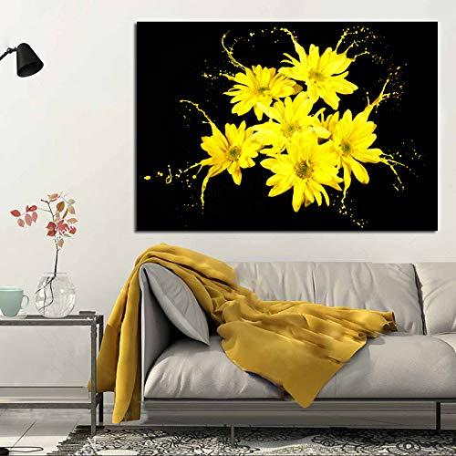 ganlanshu Moderne Leinwand Ölgemälde abstrakte Wandbild gelbe Blume drucken Ölgemälde Wandbild Wohnzimmer Dekoration Malerei Wandbild rahmenlose Malerei 70cmX87cm