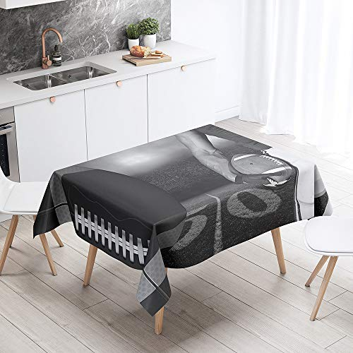 Fansu Rectangular Polyester Waterproof Tablecloth, 3D football pattern Creative Table Cover,Multi-purpose Decorative for Party Banquet Garden Outdoor or Indoor (Black photo,140x160cm)