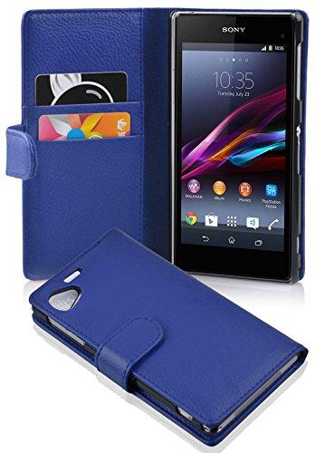 Cadorabo Hülle für Sony Xperia Z1 COMPACT in KÖNIGS BLAU – Handyhülle aus Strukturiertem Kunstleder mit Standfunktion & Kartenfach – Hülle Cover Schutzhülle Etui Tasche Book Klapp Style
