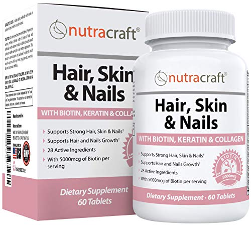 #1 Biotin Hair Skin Nail Vitamins | 5000mcg of Biotin + Keratin | 100% MONEY BACK GUARANTEE | 27 Potent Ingredients with Collagen, MSM & Silica to Support Hair Growth, Stronger Nails and Natural Beauty | 60 Tablets