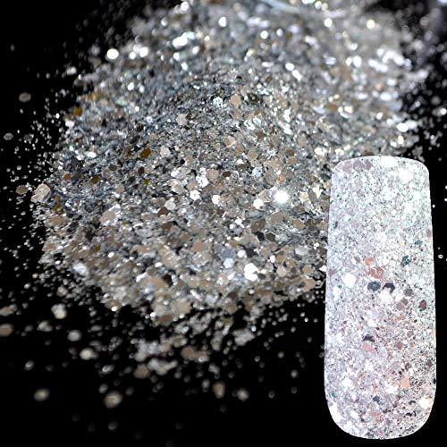 QSDFG diep zilver glitter mix nagel kunst glitter acryl poeder puur zilver pentagon pailletten vel nagel benodigdheden decoratie