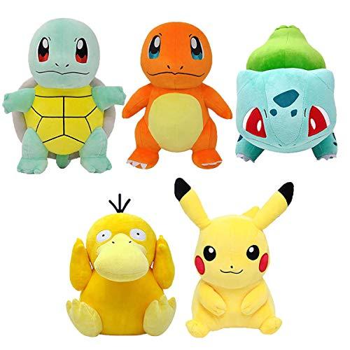 EOFK Pọkémọn Plush Toys 5 Pack - Pọkémọn Stuffed Animals - Pọkémọn Plush Toys 5 Pack - Pịkáchụ Plush, Charmander Plush, Squirtle Plush, Psyduck Plush & Bulbasaur Plush