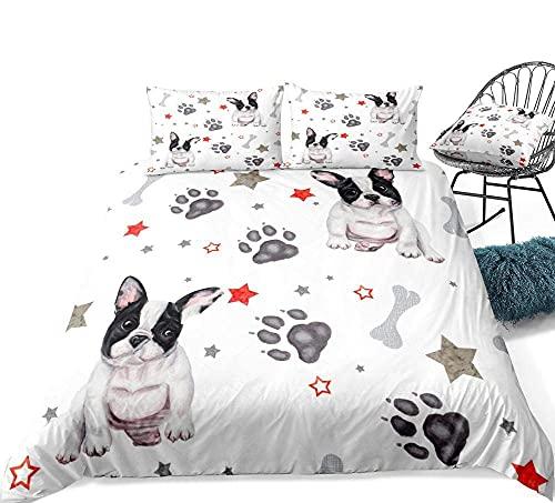 Juego de funda nórdica para perro de 3 piezas, ropa de cama de Bulldog de dibujos animados, estrellas y pata de perro, textiles para el hogar, funda de edredón blanco, juego de cama para mascotas, jue