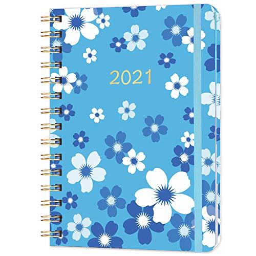 Agenda Settimanale 2021, Settimana per visualizzare il agenda a5, Copertina Rigida, Rilegato Elastico, Etichetta mensile, 21,5 x 15 cm, Blu (Fiore blu)