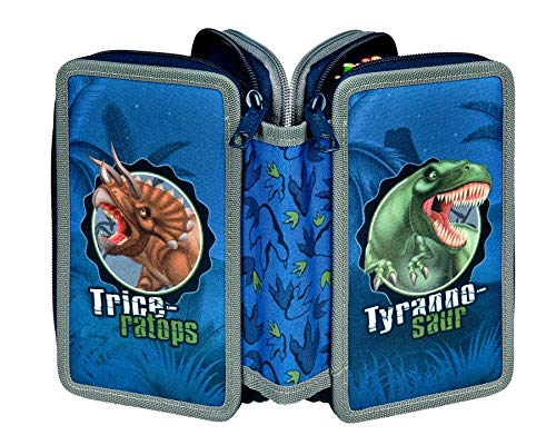 Undercover Scooli Dinosaurier 3 Fach gefüllt Federtasche Schüleretui Federmappe Triple
