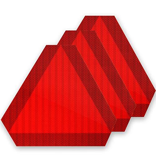 3 Señales de Seguridad de Vehículos de Movimiento Lento con Cinta Reflectiva Letrero de Plástico de Triángulo de Vehículo de Movimiento Lento Gran Reflector para Coches, 14 x 12 Pulgadas