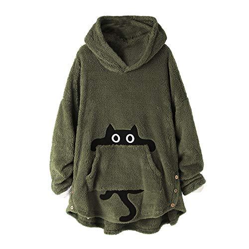 Sudadera con capucha para mujer, con botones, suelta, tamaño grande, de felpa, gruesa, forro polar, con bolsillos, color verde militar