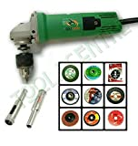 KROST 12 IN 1 UNIVERSAL COMBO OF DRILL MACHINE/ANGLE GRINDER,CAN BE USED AS AN ANGLE GRINDER & AS DRILL MACHINE WITH FREE 10MM DIAMOND BIT + 9PCS GRINDING COMBO WHEELS FOR VARIOUS APPLICATIONS.
