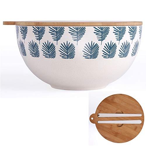 Salatschüssel Bambus Groß mit Deckel und Salatbesteck Servierschüssel (Salatschale, Holzdeckel, Schüssel 27 cm, Weiß Blau)